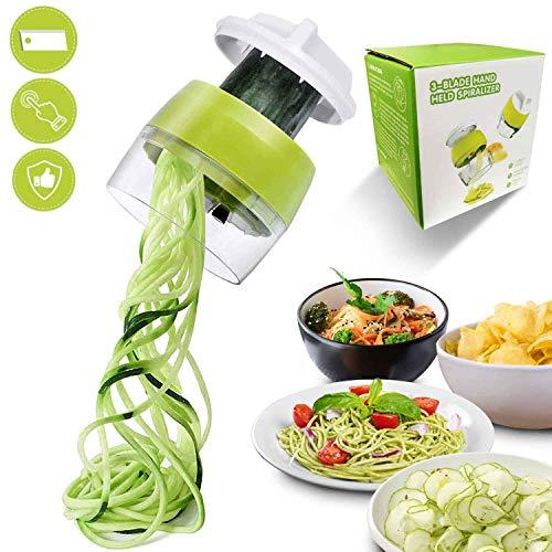 Flyfun Spiralschneider Hand für Gemüsespaghetti, 4 in1 Gemüse Spiralschneider, Gemüsehobel für Karotte, Gurke, Kartoffel,Kürbis, Zucchini, Zwiebel