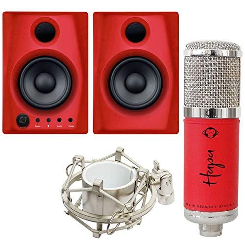 Monkey Banana Hapa USB Kondensator-Mikrofon Rot + Gibbon Air Monitor-Boxen Rot
