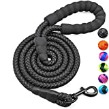 Mycicy 6FT Strong Dog Leash Rope Dog Leash Highly Reflective Threads with Soft Padded Handle for Small Medium Large Dogs (6ft 1/4', Pureblack)