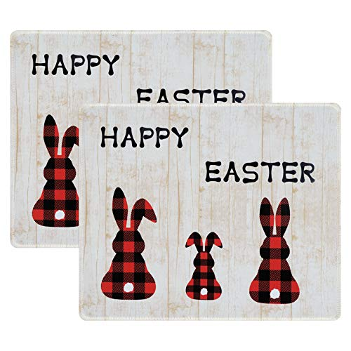 Yastouay Spring Easter Mouse Pad, Red Black Plaid Bunny Rabbit Mouse Mat, Anti Slip Vintage Mouse Pad with Stitched Edges for Home Office Working Gaming, 9.5 x 7.9 Inch