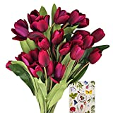 SnailGarden 27 Tulipanes Artificiales,Flores de Tulipanes de Seda,Flor Decorativa con 1 Tarjeta de Felicitación para Boda,Hogar,Fiesta