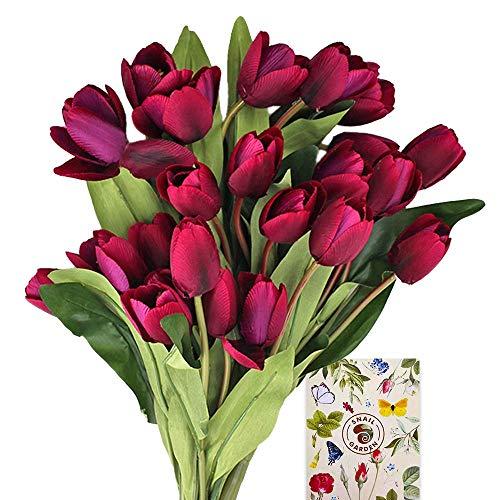 SnailGarden 3 Strauße/27 Köpfe Dunkellila Künstliche Tulpen Blumen,Seide Kunstblumen Tulpen Strauß mit mit 2 Bänder & 1 Grußkarte,Kunst Tulpen Deko für Hochzeit Hause Party Festival Blumenarrangement