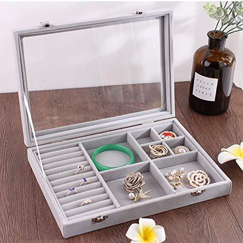 Bolso mediano de terciopelo con cubierta de vidrio caja de exhibición de anillo de joyería bandeja de rack caja de almacenamiento organizador pendientes anillo pulsera