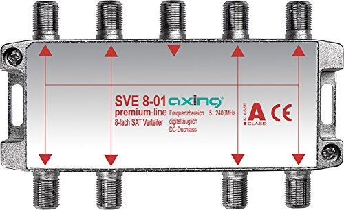 Axing SVE 8-01 Distributore partitore satellitare e digitale terrrestre 8 Vie, Splitter 5-2400 MHz,...