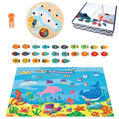 Tagitary Juegos de pesca 2 en 1 32 piezas de madera magnética letras del alfabeto juguetes de pesca con estera de juego del océano juguetes educativos para niños niñas niños niños 2 3 4 5 años de edad