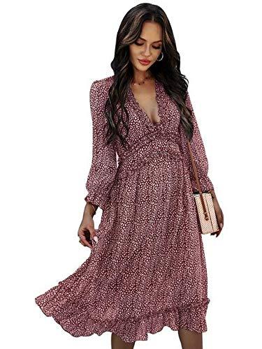 Vestido Informal De Verano Con Cuello En V Para Mujer, Vestido Bohemio Con Estampado Floral,Vestido a Media Pierna Con Volantes,Elegante Chic De Noche Playa Vacaciones Faldas,Lavender-S