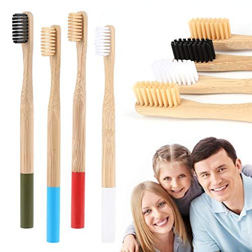 Lucacse 18,5 cm Bambuszahnbürste 13 Stücke Weiche Bambusfaser Zahnbürste Abgestufte Biologisch abbaubarer Griff und Borsten Zahnbürstenpflege für Kinder und Erwachsene