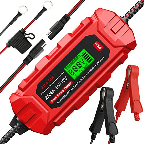 6V/12V Smart Battery Charger Maintainer 2A 4A Fully Automatic 10-Stage Trickle Charger for Automotive Car Motorcycle Lawn Mower Marine Boat RV ATV AGM Lead Acid Battery, Deep Cycle Battery Charger