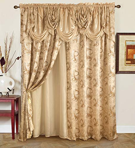"""Golden Rugs Jacquard Luxury Curtain Window Panel Set Curtain with Attached Valance and Backing Bedroom Living Room Dining 112""""X84"""" Each Jana Collection (Beige)"""