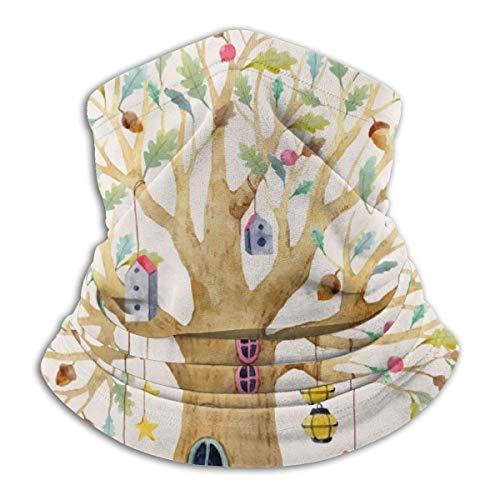 Calentador de Cuello Hermoso bebé Casa en el árbol Calentador de Cuello Pasamontañas a Prueba de Viento Capucha de Lana Sombreros de Invierno UV Gratis