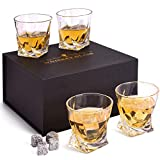 Whiskey Glasses Set, 4 Old Fashioned Whisky Glasses in Luxury Gift Box - 10 Oz...