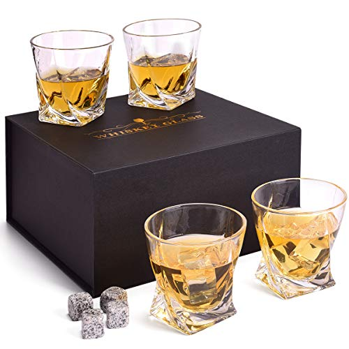 Whiskey Glasses Set, 4 Old Fashioned Whisky Glasses in Luxury Gift Box - 10 Oz Rocks Barware for Whiskey,Scotch, Bourbon and Cocktail Whiskey Gifts for Men / Women