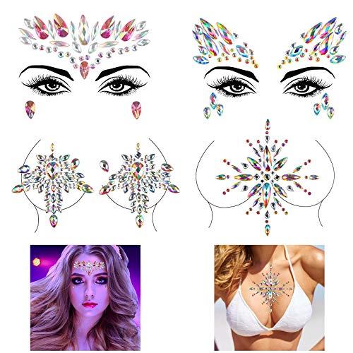 Cristal Faciales Temporal Halloween KATOOM 4 Set Gemas CCuerpo Mujer Rhinestone Ojos Fiestas de Diamantes de Imitación y Pegamento para Decorar Cara/Pecho en Halloween/Cosplay/Mujeres/Niños
