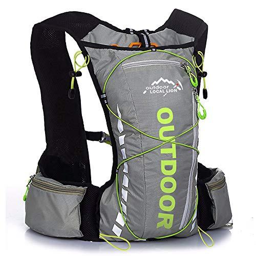 FREEMY Fahrrad-Rucksack, 8 l Fassungsvermögen, für Damen und Herren, für Cross-Country, Laufen, Marathon, Ski, Camping, Gray with Green A