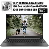 HP 15t 2020 Premium Laptop Computer I 15.6' HD Micro-Edge Display I 10th Gen Intel Quad-Core i7-10510U I 32GB DDR4 512GB SSD I WiFi USB-C HDMI Webcam Win 10 + Delca 16GB Micro SD Card