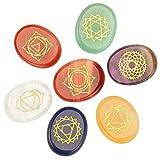 Cristales Curativos - 7Pcs Chakra Reiki Grabado Pebble Piedras Talladas Oro Caracteres Piedras Pulidas Para El Equilibrio Holístico Cuidado De La Salud