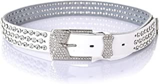 Ladies Belt with Rhinestones Wide Leather Belt Fashion Hollow Belt. (Color : White)