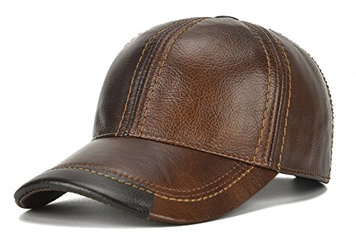 Roffatide Men Leather Baseball Cap Adjustable Buckle Dad Hat Driving Outdoor Winter Warmth Brown
