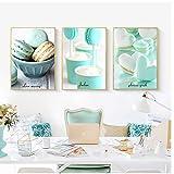 YQQICC Póster de lienzo nórdico postre de cocina pintura de alimentos menta verde macarrón arte de pared impresión imágenes para el hogar decoración -40x60cmx3 sin marco