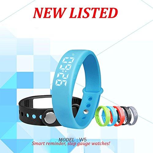 BINKO® - BINKO W5 Reloj inteligente LED a la moda - Brazalete para deportes saludables - Pulsera - Rastreador - Podómetro - Monitor de sueño, calorías y temperatura