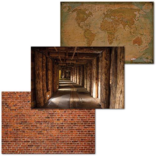 GREAT ART Juego de 3 Carteles XXL – diseño rústico – Vigas de Madera Mapa del Mundo Ladrillos Mina de Sal cálidos Tonos Marrones decoración Mural póster Cada uno 140 x 100 cm