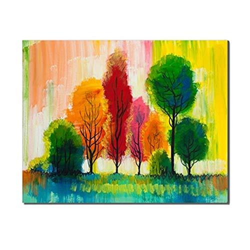 Abstract bos canvas schilderij kalligrafie aquarel poster afdrukken muurkunst bomen huis keuken badkamer decoratie accessoire 60 x 80 cm geen lijst