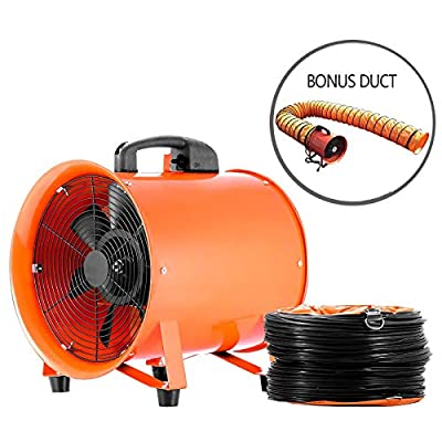 "Hihone 12"" Utility Blower Fan with Hose, 3300RPM Heavy-Duty Velocity Air Circulator Low Noise for Industril, Portable Ventilator Utility Blower Fan Portable(5M Duct Hose)"