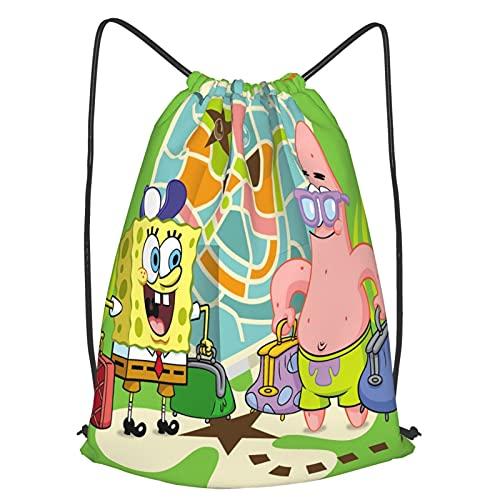 Bolsa deportiva de Bob Esponja impermeable para gimnasio, gran escuela, mochila diaria, bolsa de natación, para niños, niñas, estudiantes, con cordón