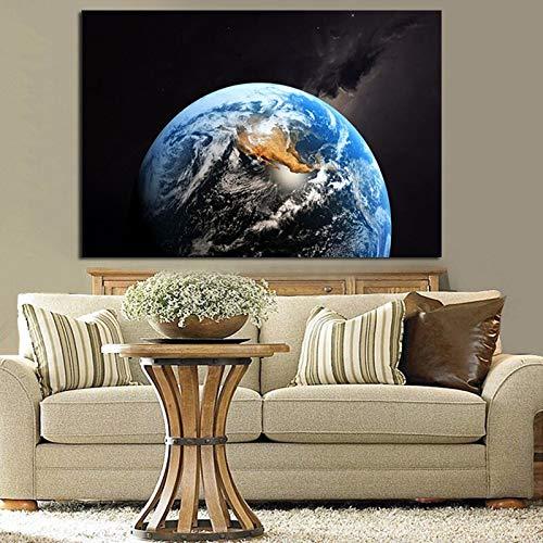 Peinture sans Cadre Moderne HD Grande planète Bleue Terre Univers Galaxie décoration Murale Peinture sur toileCGQ6142 50X75cm