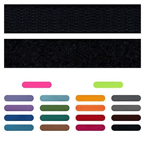 SIMON PIKE 1m Klettband 1,5 cm breit in schwarz, Klett Flausch und Haken zum Nähen, 1 Meter Klett Hakenband und Flauschband am Stück