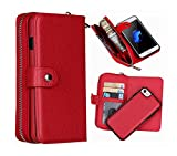 iPhone 6 Plus Wallet Case, Hynice iPhone 6S Plus Wallet Purse Case Leather Zipper Case with Credit Card Slots and Magnetic Detachable Slim Cover for iPhone 6 Plus/6S Plus 5.5\'(Litchi-red)