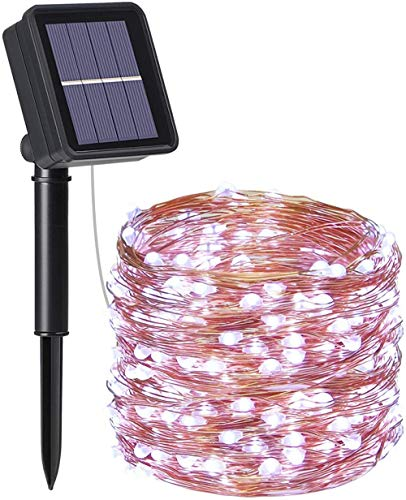A-Generic Solar string, 2PCS garden light (100 LED 8 modes) 10M / 33FT, outdoor waterproof solar light, Christmas, wedding, party, home (warm white) waterproof decoration lamp-# 7 cold white