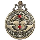 XVCHQIN Retro Diamantes de imitación corazón Antiguo Diamante en Relieve Monedas conmemorativas Reloj de Bolsillo de Cuarzo Retro Bronce Colgante Collar Regalos, Bronce