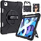 SUPFIVES iPad Air 4 Case with Apple Pencil Holder, Case for iPad Air 4th Generation 10.9 inch 2020, Military Grade 8ft Heavy Duty Rugged Silicone Protective Cover + Stand + Hand& Shoulder Strap(Black)