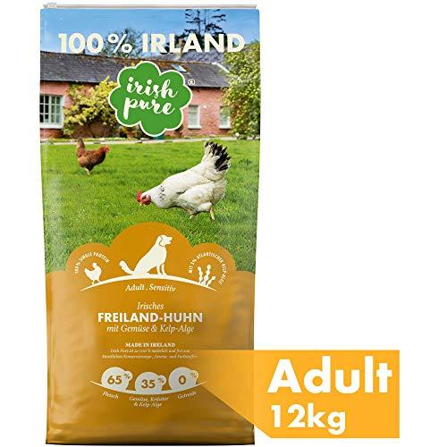 Irish Pure Adult Freiland-Huhn mit Kelp-Alge & Gemüse - Trockenfutter für Hunde, Hoher Fleischanteil, Vitamine, Getreidefrei, Sensitiv, Hundetrockenfutter, Hundefutter für alle Rassen (12kg)