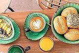 Sänger Kaffeeservice Palm Beach aus Porzellan 12 teilig   Füllmenge der Tassen 300 ml   Tafelservice mit Reisslack Effekt bestehend aus Tassen, ovalen Untertassen und Desserttellern in Vintage Optik - 2