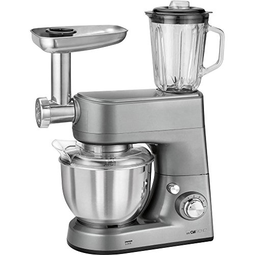 Clatronic Km 3648 leistungsstarke Robot de cuisine multifonctions, 1000 W, 5 l inox, Saladier, titane
