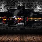 Yywife Cuadros Decoracion Salon Modernos 5 Piezas Lienzo Grandes XXL Murales Pared Hogar Pasillo Decor Arte Pared Abstracto HD Impresión Foto MAX Verstappen F1 Red Bull Racing
