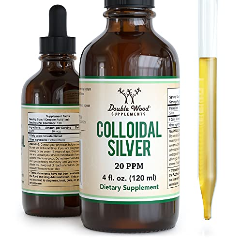 Colloidal Silver Liquid 20 PPM - 4 Fl OZ (Plata Coloidal with Dropper) 99.9% Pure  Made in The USA  Gluten Free  Non-GMO by Double Wood Supplements