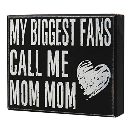 JennyGems - My Biggest Fans Call Me Mom Mom - Mommom Gifts - MomMom - Stand Up Sign - Wooden Stand...