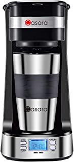 Casara Single Cup Coffee Maker- with 14 oz. Double-wall Stainless Steel Travel Mug and Reusable Filter- Personal Coffee Maker with programmable timer and LCD display,3 in 1 Single Serve Coffee maker