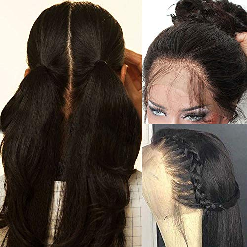 Pre Plucked Full Lace Human Hair Wigs for Black Women Straight Glueless Lace Front Wigs with Baby Hair (16 inch full lace wig 150 density)