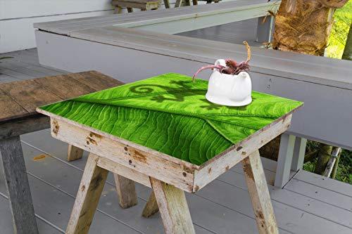 Wallario Aufkleber Selbstklebende Garten-Tisch-Decke - Gecko Schatten auf grünem Blatt - Umriss in 100 x 100 cm