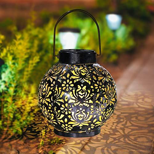 Solarlampe für Außen, Lyeiaa LED Solarlaterne Metall Solarleuchte Garten Hängend Outdoor Deko, Wasserdichte Solar Licht Rund Solar Laterne für Terrasse, Weg, Hof, Rasen