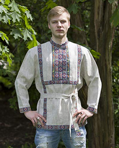 Russian shirt men traditional wear kosovorotka boho shirt ethnic folk Slavic clothing