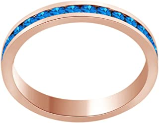 AFFY Round Shape Simulated CZ Full Eternity Band Ring in 14K Rose Gold Over Sterling Silver