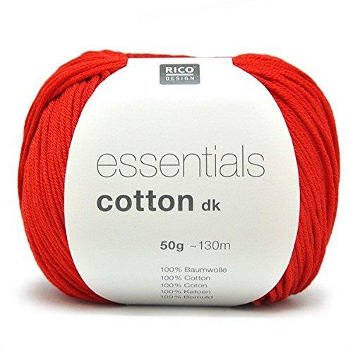 Rico Design Essentials en Tricot de Laine Double, 100% Coton, Rouge