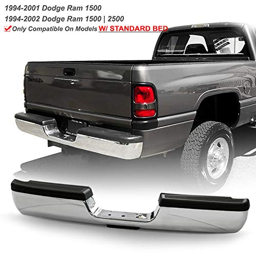 ACANII - For 1994-2001 Dodge Ram 1500 2500 3500 Standard Bed Pickup Chrome Steel Complete Rear Step Pad Bumper Assembly