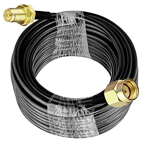RP SMA Cable RG58 49.2Ft (15M) TUOLNK RP SMA Cable de extensión hembra a macho 50ohm para RF Radio Antena WiFi GPS Antena de baja pérdida Cable coaxial
