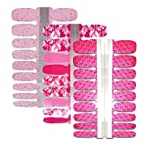 BornBeauty Rose Flower Nail Polish Strips 3 Sheets Waterproof Adhesive Glitter Press On Nails Stickers Pink for Women DIY Manicure Decoration